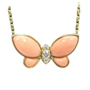 Van Cleef Arpels Coral Diamond Butterfly 18KT Yellow Gold Pendant Necklace $6700.00