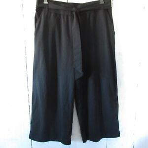 New Any Body Cozy Knit Wide Leg Crop Pants M Medium Black Pull On Lounge QVC