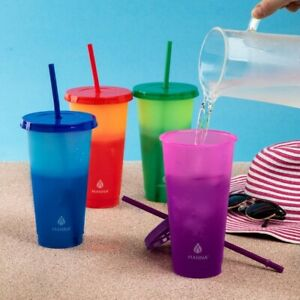 Manna 4-Pack Color Changing Tumblers Lids Straws 24oz Reusable Cold Drink Cups