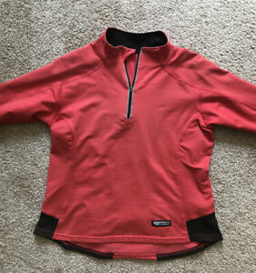 Brooks Running Womens Coral Pink Long Sleeve Top Shirt Pullover 1 4 Zip Size S $15.99