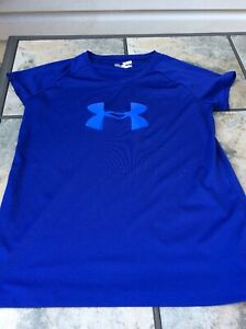 Under Armour Girls Youth Xlarge XL T Shirt EUC Blue Heat Gear $7.99