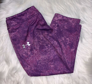 Under Armour Heat Gear Purple Cropped Fitted Yoga Pants Leggings Size Youth XL $12.99