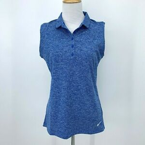 Nike Golf Sleeveless Shirt Women's Size M Blue Dri Fit Casual Collared Athletic $19.94