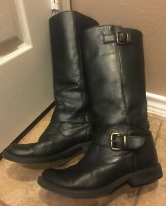 Steve Madden P Frannk Womens Leather Boots Size 8 M Calf High Black Boots $15.00
