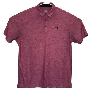 Under Armour Heat Gear Loose Fit Mens Pink Large Golf Polo Shirt Short Sleeve A1 $22.49