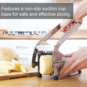 French Fry Cutter Potato Vegetable Slicer Chopper Dicer W/2Blade Stainless Steel