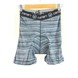 Canari Mens Liner Cycling Shorts Gel Brief Padded Breathable Striped Gray Size S $24.99