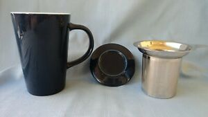 TEAVANA...Porcelain TEA CUP and LID with Stainless Steel  INFUSER...NEW 3pcs
