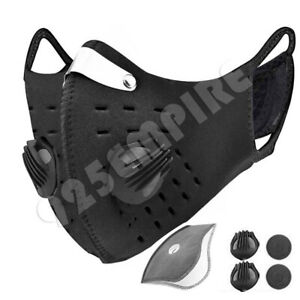 Black Face Mask Valves Filter Carbon Reusable Neoprene Outdoor Cycling