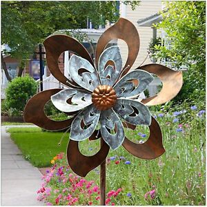 Color Metal Wind Spinner Kinetic Outdoor Lawn Garden Decor Patio Stake Yard Art $126.99