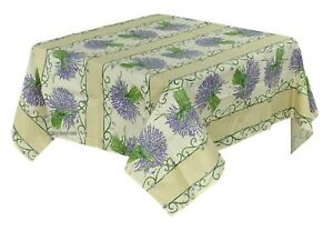 French Provencal 100% Cotton Tablecloth Lavender Bouquets Made France 60X60