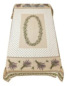 French Provencal Coated Cotton Tablecloth Olives amp; Lavender 59 X 79 Made France