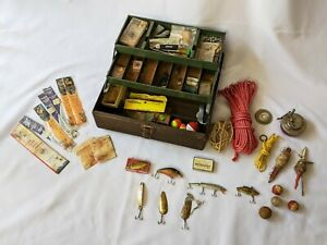 Vintage Spill-Proof Metal Tackle Box Full of Old Fishing Lures Supplies