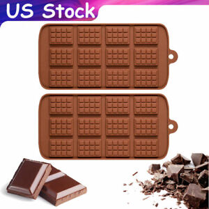 2X Silicone Mold Chocolate Bar Ice Cube Tray Fondant Molds DIY Candy Mould