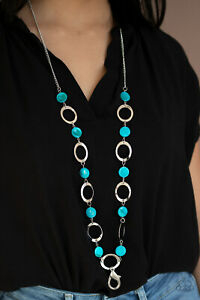 Shell Your Soul Blue Necklace Lanyard Paparazzi