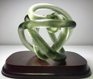 Vintage Abstract Murano Blown Glass Sculpture Twisted Rope Knot Paperweight 5.5