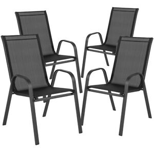 4 PACK All Weather Outdoor Patio Stakable Chairs in Black Fabric amp; Metal Frame