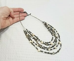 Vintage Smokey Brown Crystal and MOP Bead Multi Strand Illusion Choker Necklace $14.32