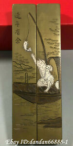 Chinese fengshui old Bronze fisherman sit take boat fishing paper weight pair