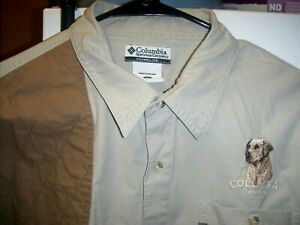 Columbia Sportswear Mens XL Button Front L S Shirt Columbia Hunting Yellow Lab