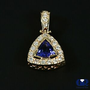 Natural 1.42 Ct Trillion Tanzanite amp; Round Diamond Pendant Necklace 14KYG