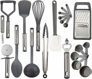 23 Piece Cooking Utensil Set Stainless Steel Nylon Kitchen Gadgets Utensils $15.10