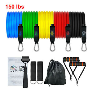 150 LBS Resistance Bands Yoga Exercise Fitness Tubes Workout Pilates Bands 11PCS $14.99