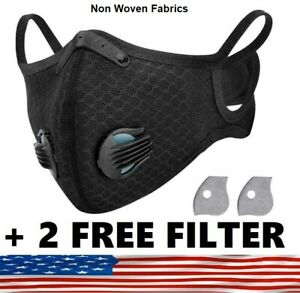 Face Mask Active Carbon Filter & Breathing Valve + 2 Free 5Layer PM 2.5 Filter ✅