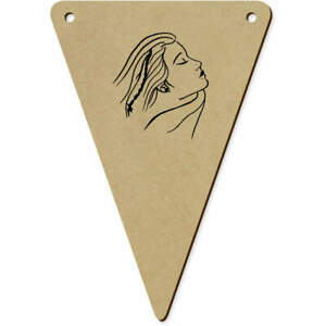 5 x 140mm #x27;Beautiful Lady#x27; Wooden Bunting Flags BN00047544