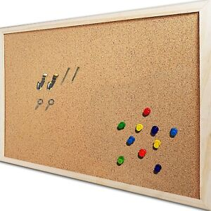 Small Bulletin Cork Board Wood Frame Memo Message Notice Pushpins 4 Home Office