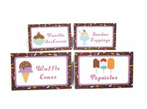 Ice Cream Food Tent Buffet Place Cards Girl Summer Birthday Party Decorations