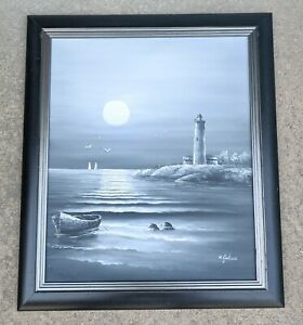 20quot;x24 Nautical Lighthouse Oil Painting Canvas M. GARTLAND Sea Ocean $199.99