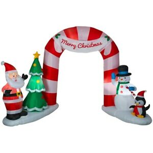 Merry Christmas North Pole Archway Inflatable Santa Snowman Penguin Candy Cane