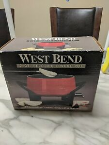 West Bend Electric Red Fondue Pot Set with Fondue Forks and temperature control!
