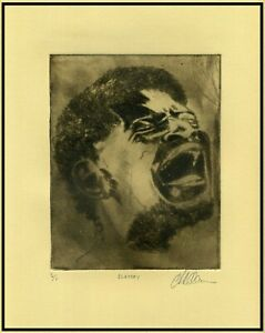 AFRICAN-AMERICAN SLAVE PORTRAIT Original ETCHING Signed Limited-Edition Print $125.00