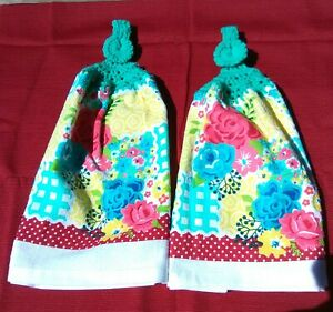 2 Hanging Double Kitchen Dish Towels w/Crochet Tops Red/Yellow Floral
