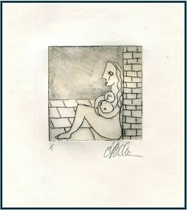 HOMELESS MOTHER amp; BABY Original ETCHING Signed Limited Edition Art Print $15.00