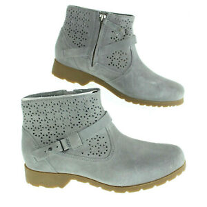 NIB Teva Delavina Gray Perforated Suede Ankel Boots New Sz 6.5 W  $29.99