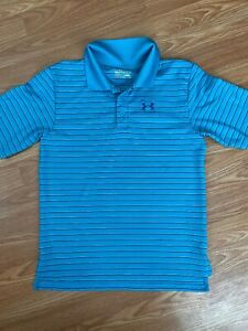 Under Armour UA Boy's Youth Golf Polo Shirt Size Large, Blue Striped $11.95