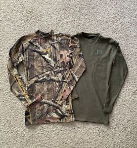 UNDER ARMOUR Adult Small LOT 2 COLD GEAR Long Sleeve Fitted Shirts CAMO $24.99