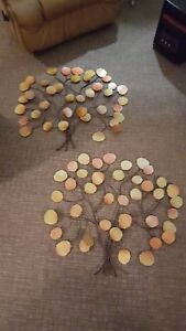 2 large iron tree wall sculptures wall art metal tree with colorful leaves $136.00