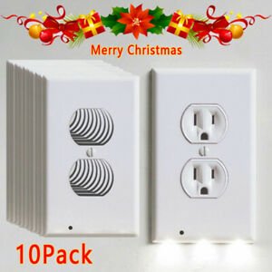 5/10PCS Wall Outlet Plug Cover Plate LED Night Light Sensor Auto ON/OFF Socket