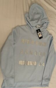 NWT Under Armour Logo Hooded Hoodie Blue Pullover Womens Size Large Retail $55 $9.99