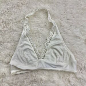 Out From Under for Urban Outfitters Bralette Halter Large Cream Ribbed Lace $20.00