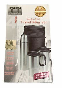 TRAVEL TECHNOLOGY Stainless Steel 4 Piece Travel Mug Thermo Set + Case Hot Cold