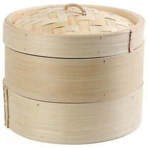 5X(Bamboo Steamer 2 Tier 8 Inch Dim Sum Basket Rice Pasta Cooker Set with L W7A4