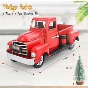 Vintage Metal Classic Pickup Red Truck w Tree Farm House Rustic Decor Christmas