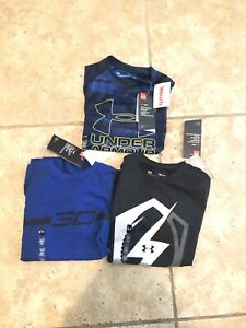 Lot of 3 NWT Youth Boys Under Armour Tees Shirts Size Small S Loose Fit Blue Blk $9.50