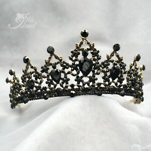 Black Crystal Princess Tiara Crown Wedding Bridal Party Pageant 924 Antique Gold $16.99
