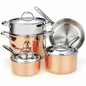 Cooks Standard Copper Stainless Steel 8-Piece Multi-Ply Clad Cookware Set